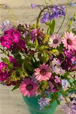 Vase, bouquet, many kinds flowers