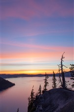 Preview iPhone wallpaper Volcano, Crater Lake, Oregon, sunrise, mountain, dawn