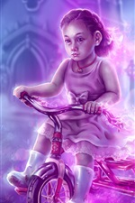 Preview iPhone wallpaper Watercolor painting, child girl, bike, cemetery