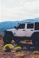 iPhone fondos de pantalla Blanco SUV coche parada en la cima de la montaña