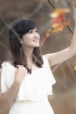 Preview iPhone wallpaper White dress Asian girl, autumn, forest, leaves
