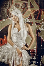 Preview iPhone wallpaper White hair Asian girl, white skirt, graffiti wall