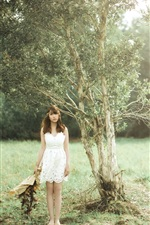 Preview iPhone wallpaper White skirt Asian girl, trees, meadow