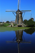 Preview iPhone wallpaper Windmill, Netherlands, channel, water, blue sky