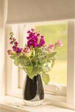 Preview iPhone wallpaper Windowsill, rose, flowers, vase