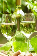 Preview iPhone wallpaper Wine, glass cups, bottle, grape leaves