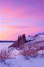 iPhone fondos de pantalla Invierno, nieve, puesta de sol, río, molino de viento