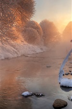 Preview iPhone wallpaper Winter, snow, trees, twigs, river, dawn, sunlight