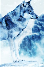 Preview iPhone wallpaper Winter wolf, predator, snowing