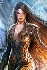 Preview iPhone wallpaper Witchblade, fantasy girl, long hair, armor, comic