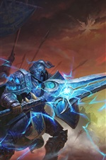 Preview iPhone wallpaper World of Warcraft, sword, armor, hammer, art picture