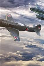 Preview iPhone wallpaper World of Warplanes, three fighters flight