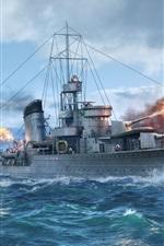 Mundo dos navios de guerra, destruir, mar, navio