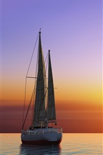 Preview iPhone wallpaper Yacht, sails, sunset, sea