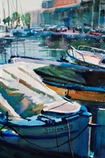 Preview iPhone wallpaper Yachts, boats, pier, watercolor painting