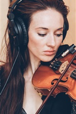 Preview iPhone wallpaper A woman playing violin, music, headphone