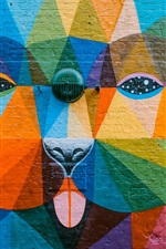 Preview iPhone wallpaper Art graffiti, colorful, animal, wall