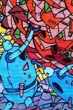 Preview iPhone wallpaper Art graffiti wall, robot
