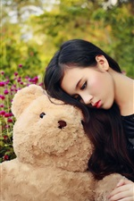 Preview iPhone wallpaper Asian girl and teddy bear, sadness
