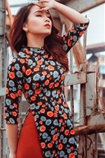 Asian girl, colorful skirt