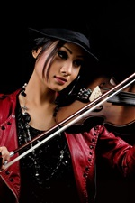 Preview iPhone wallpaper Asian girl play violin, leather clothes, black background