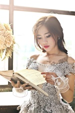 Preview iPhone wallpaper Asian girl reading book, window, flowers