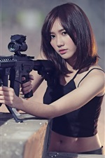 Preview iPhone wallpaper Asian girl, short hair, rifle