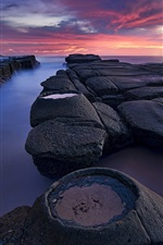 Preview iPhone wallpaper Australia, New South Wales, lighthouse, morning, stones, sea, clouds