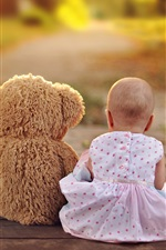 Preview iPhone wallpaper Baby and teddy bear rear view, friends