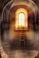 Preview iPhone wallpaper Basilica, columns, window, sunshine, plants