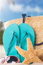 Preview iPhone wallpaper Beach, bottle, starfish, bag, sands