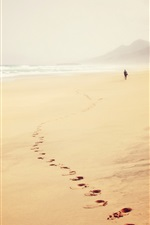 Preview iPhone wallpaper Beach, sea, fog, footprints, person