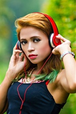 Preview iPhone wallpaper Beautiful Asian girl, headphones, music