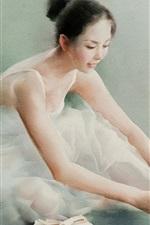 Vorschau des iPhone Hintergrundbilder Schöne Ballerina, chinesisches Mädchen, Aquarellmalerei