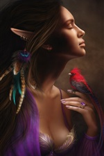 Preview iPhone wallpaper Beautiful elf girl and bird