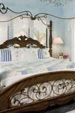 Vorschau des iPhone Hintergrundbilder Schlafzimmer, Bett, Stuhl, Fenster