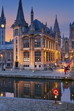 Preview iPhone wallpaper Belgium, Ghent, bridge, river, lights, houses, night city
