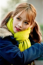 Preview iPhone wallpaper Blue coat girl, red hair, blurry background