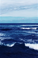 Preview iPhone wallpaper Blue sea, dusk, waves