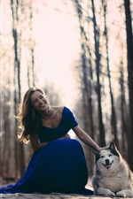 Preview iPhone wallpaper Blue skirt girl and husky dog, smile face