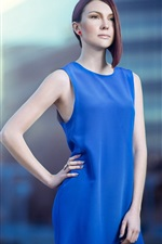 Preview iPhone wallpaper Blue skirt girl, pose, hair style