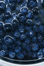 Preview iPhone wallpaper Blueberries, bowl, water, fruit