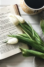 Preview iPhone wallpaper Book, coffee, white tulip, still life