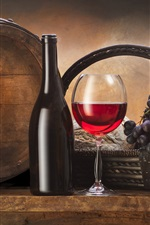 Bottle, barrel, grapes, basket, red wine