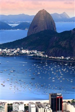 Preview iPhone wallpaper Brazil, Rio de Janeiro, city, mountains, bay, coast, boats, sea
