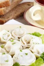 Preview iPhone wallpaper Breakfast, dumplings, greens, seasoning