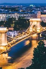 Budapest, Hungary, city night, bridge, illumination