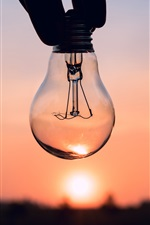 Preview iPhone wallpaper Bulb, hand, sunset