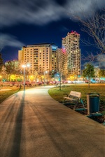 California, San Diego, USA, Ruocco Park, city, road, lights, night
