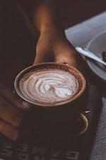 Cappuccino, café, livro, mãos